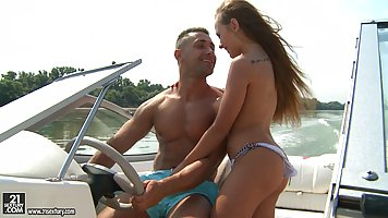 Sexy babe is enjoying on her best friend's yacht, while her boyfriend is waiting for her, at home